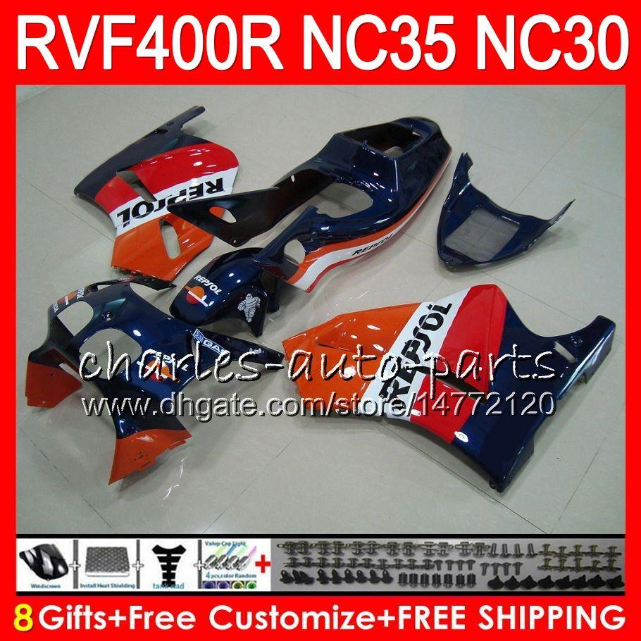 VFR400R For HONDA NC35 V4 Repsol blue RVF400R 1989 1990 1991 1992 1993 82HM.56 RVF VFR 400 R NC30 VFR 400R VFR400 R 89 90 91 92 93 Fairings