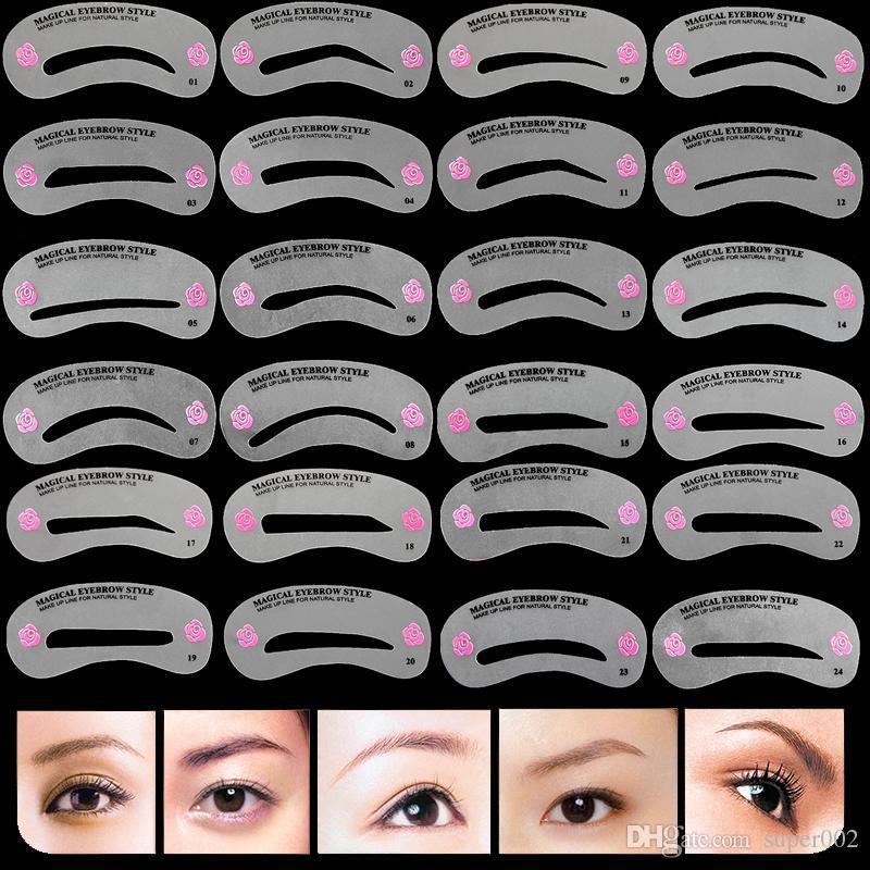 24 Adet Pro Kullanımlık Kaş Stencil Seti Göz Kaş DIY Çizim Kılavuzu Şekillendirici Şekillendirme Tımar Şablon Kartı Kolay Makyaj ...