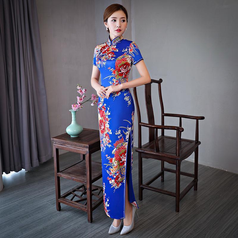 Новый стиль, улучшенный стиль, тонкий китайский этикет, самосовершенствование, ретро-шоу, длинный шелковый чонсам.