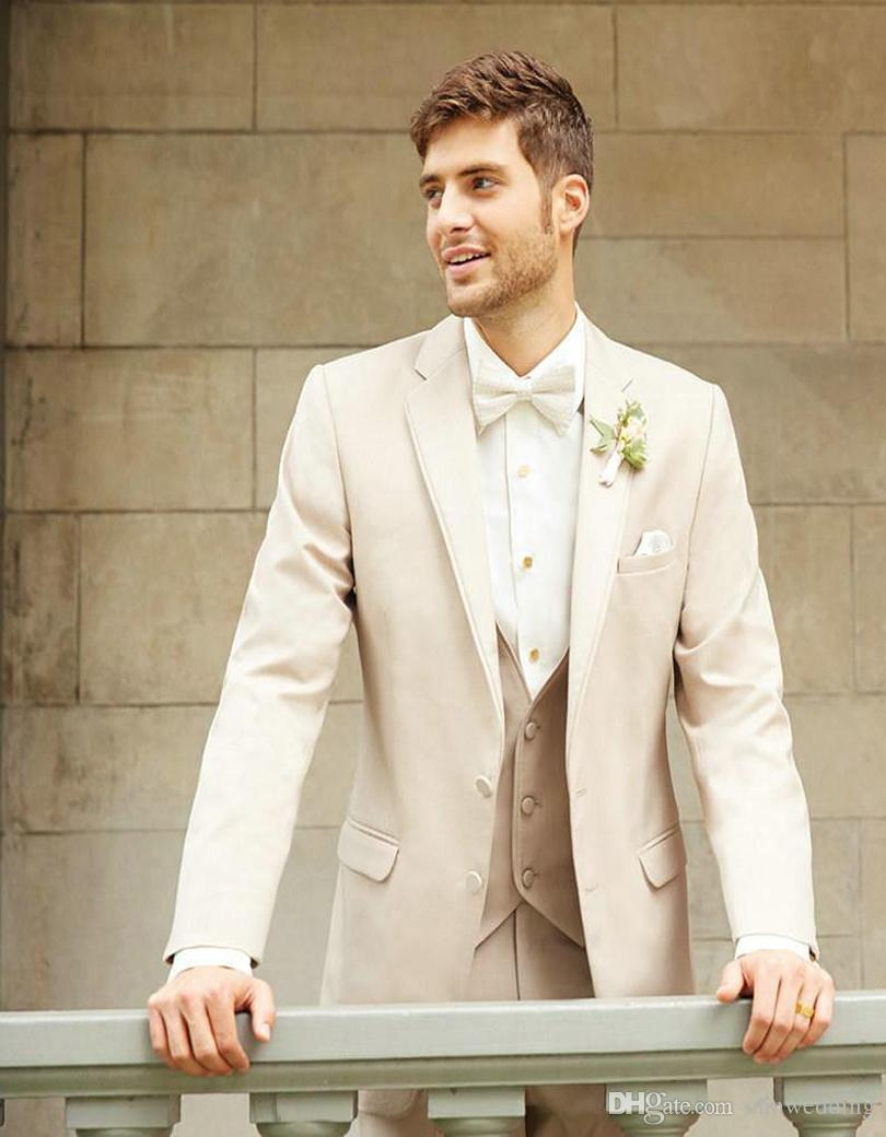Custom Made Beige Slim Fit Men Suits for Wedding Tuxedos Costume Homme 3 Piece(Jacket+Pants+Vest) Groomsman Suits Best Man Prom Wear