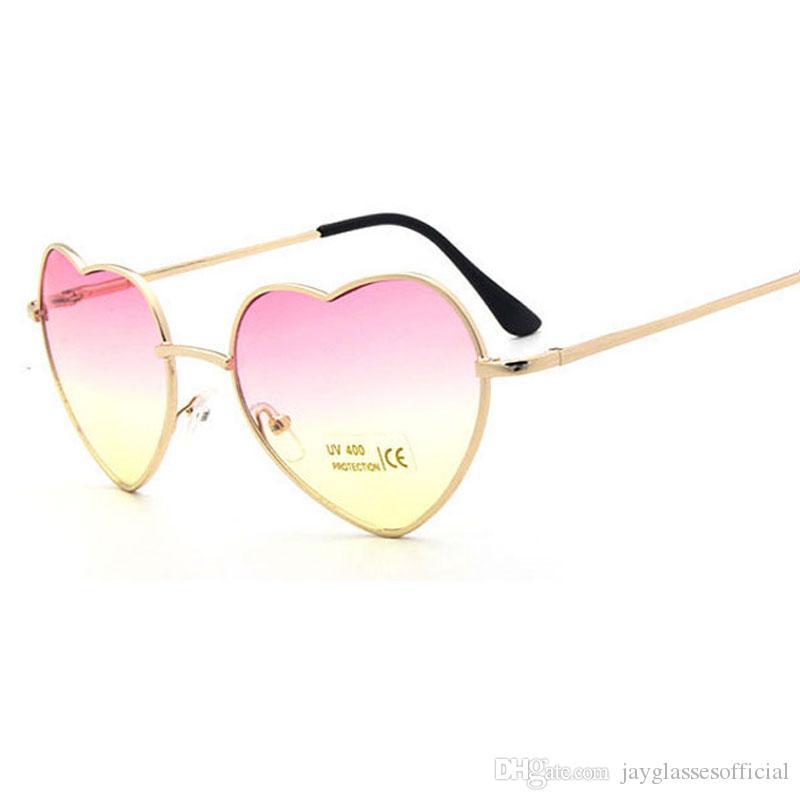 Moda en forma de gafas de sol en forma de corazón de las mujeres lentes de cristal rojo claro Moda corazón gafas de sol Espejo gafas de sol