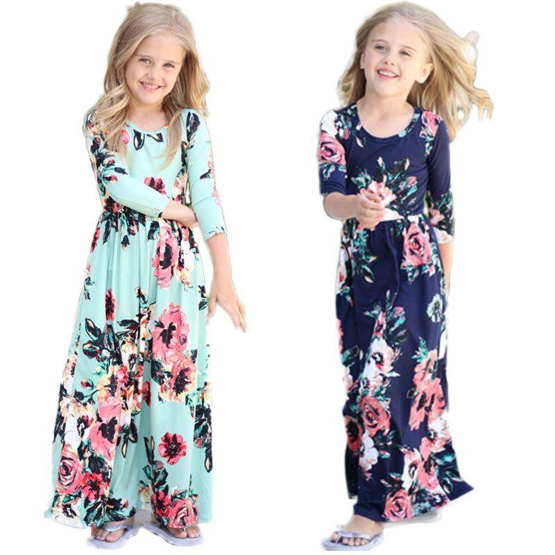 Acheter Boheme Robe Longue Pour Filles Plage Tunique Fille Robe Floral Enfants Robes Parti Costume Princesse Vetements Y1891309 De 8 05 Du Shenping02 Dhgate Com