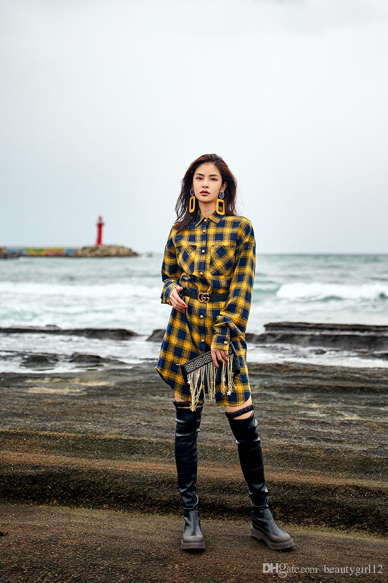 The new boutique women's fashion cotton dress is worn with a yellow plaid skirt