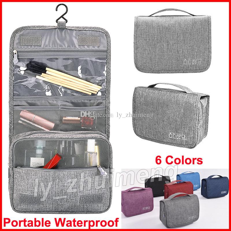 Makeup Bag Cosmetic Organizer bags with Hook Wash bag 6 Colors Available Portable Waterproof Travel bag Unisex Toiletry Bags Case