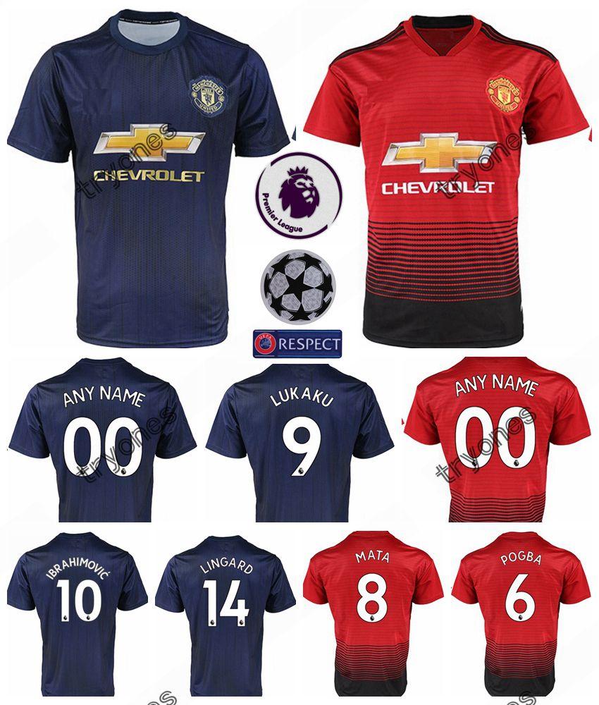 huge discount f2e82 1c97b 2018 2018 2019 Fc Manchester United Soccer Jersey Man 6 Pogba 9 Lukaku 11  Martial 14 Lingard 10 Rashford Football Shirt Kits Uniform Team From ...