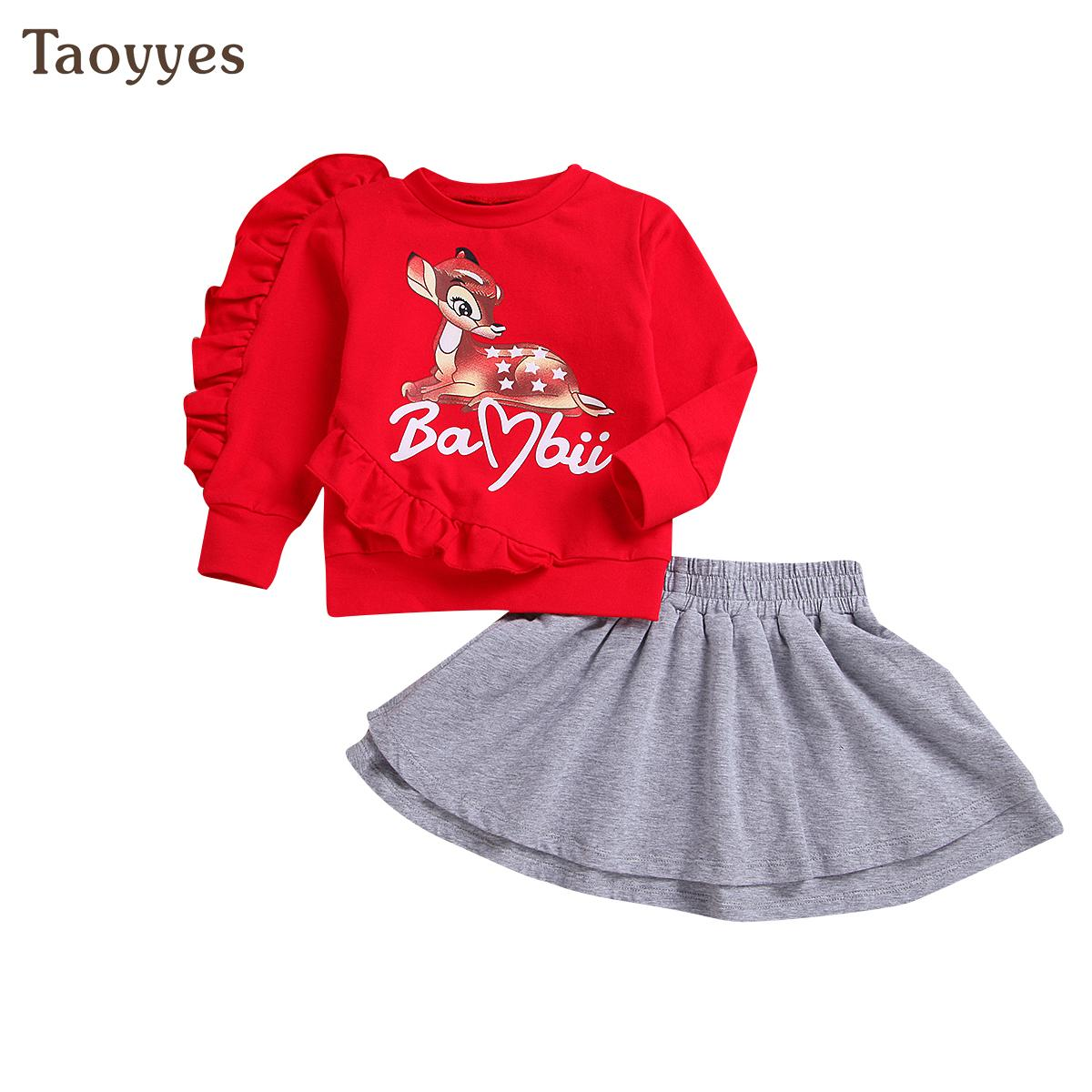 Christmas Kids Baby Girl T-Shirt Tops Lace Ruffles Pants Clothes Outfits Set