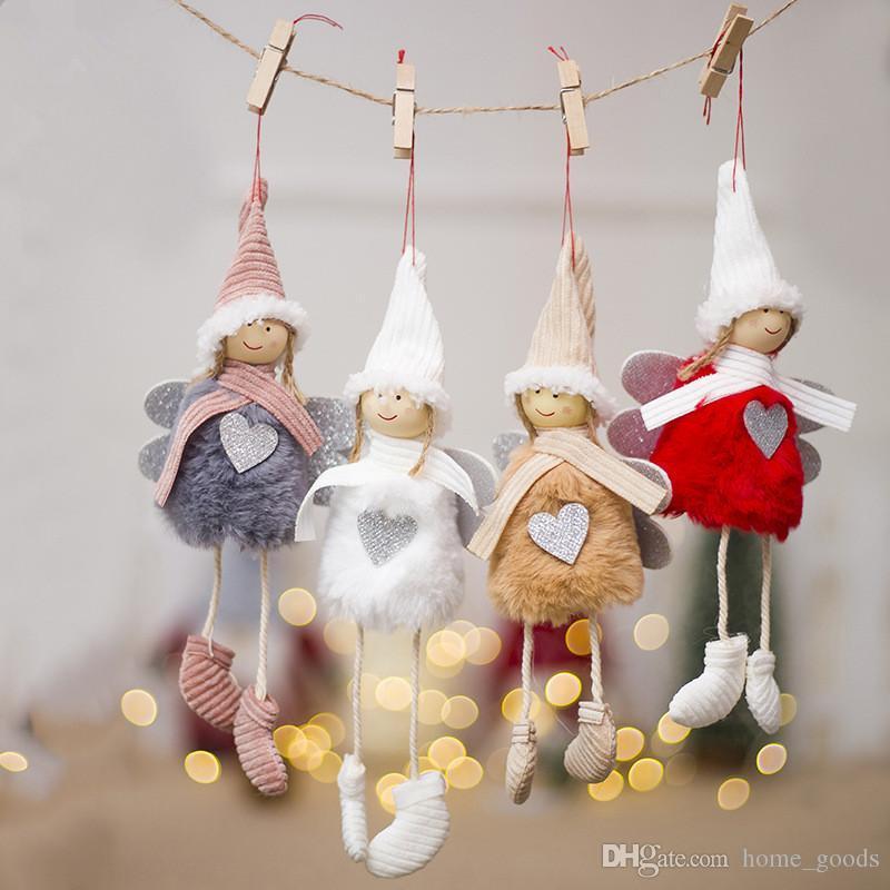 Décorations De Noël Ange En Peluche Poupée Jouet Maison Arbre De Noël Suspendu Pendentif Décoration Nouvel An Cadeau Party Table Shine Décor Ornements