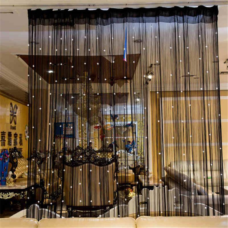 Cortina frisada Cadeia porta-janela Quarto Painel Glitter Crystal Ball Tassel Cadeia Linha Porta Cortina quarto divisor decorativa