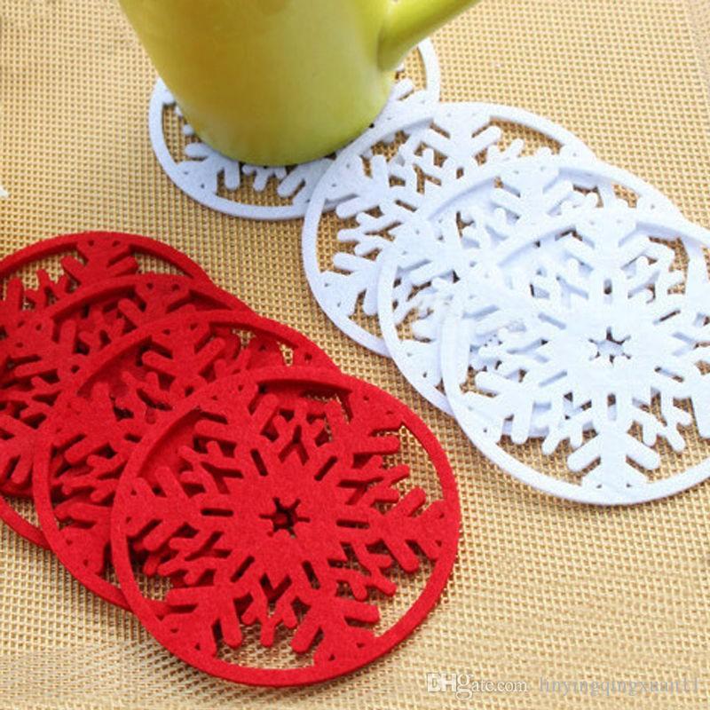 Feliz Navidad Decoraciones Copos de nieve Taza Almohadilla Estera Tela no tejida Cena Fiesta Bandeja de platos Cojines de café Hogar Navidad