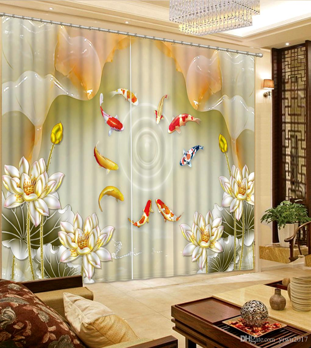 2020 Luxury Window Curtain Living Room Fish And Flowers Photo Curtain European Home Decor 3d Curtain Bedroom From Yiwu2017 58 Dhgate Com