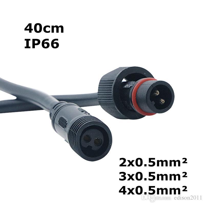 Edison2011 2/3/4/5 PINS Conector impermeable con cable de alambre 40 cm IP66 Femenino de sexo masculino 0.5 mm² para tiras LED
