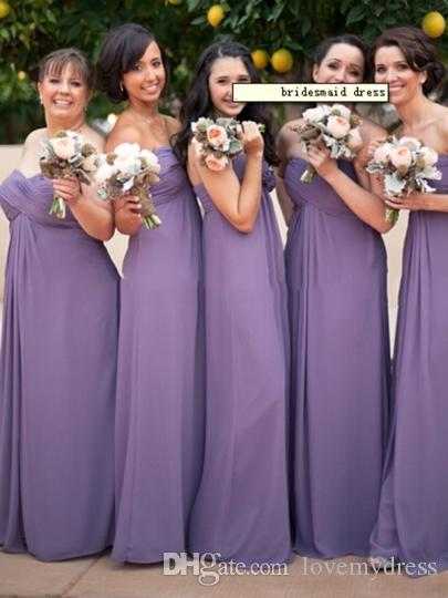 Roxo Sem Alças Plus Size Vestidos de Dama de Honra Barato Plissados Aberto Para Trás 2019 Vestidos De Casamento Para Convidado Festa De Noiva Vestido Feito Sob Encomenda Longo