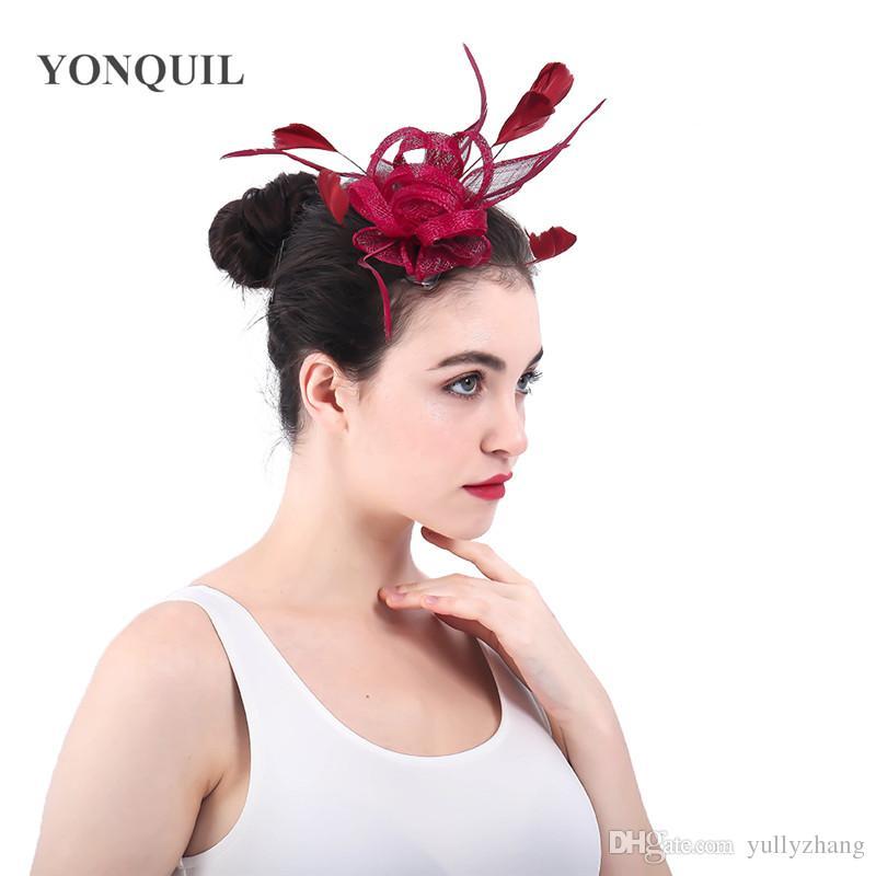 2018 Nova chegada marron SinamayCesta laços de cabelo chapéus Fascinators acessórios com mulheres pentes de casamento SENHORAS headwear cocktail chapéus SYF348