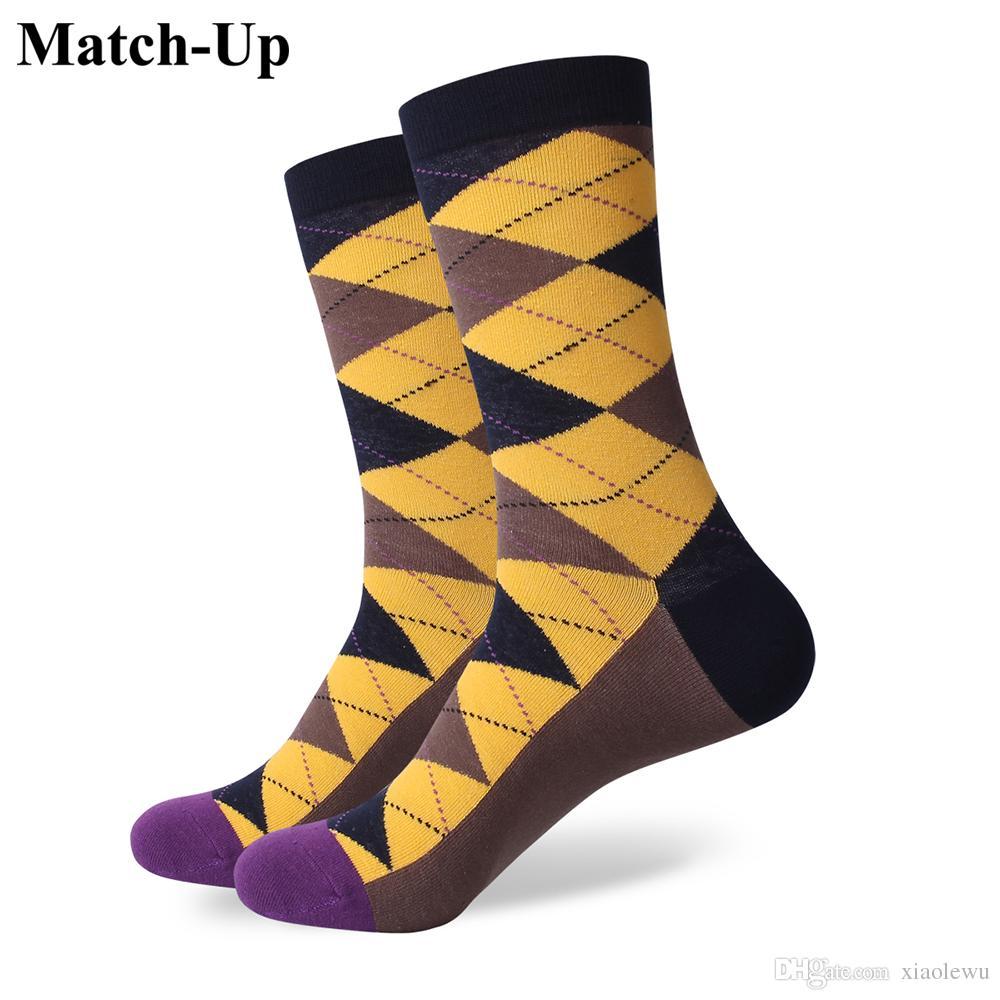 2016 homens de algodão penteado marca meias masculinas, meias coloridas xadrez, frete grátis, tamanho dos EUA (7.5-12) 291