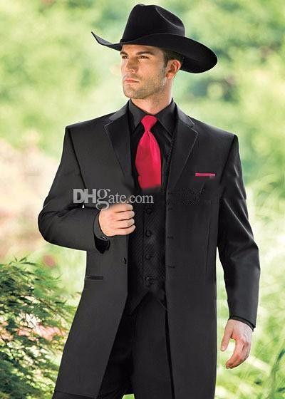 빈티지 웨스턴 턱시도 카우보이 슬림 맞는 검은 신랑 정장 결혼식 저녁 정장 남성 / 무도회 정장 3 조각 (자켓 + 바지 + 조끼)