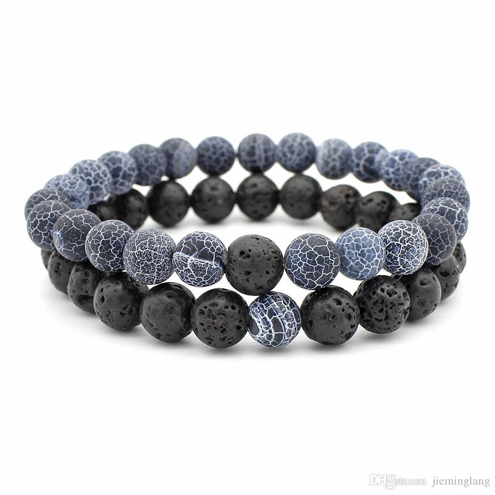 Donne Uomini Lava Rock naturale Perline Chakra Bracciali Healing Stone Energy Meditazione Mala del braccialetto di modo essenziale gioielli del diffusore dell'olio