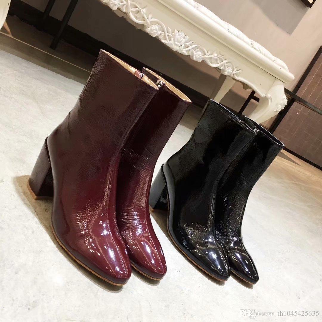 Vino rosso nero donne tacco spesso stivaletti scarpe autunno signore runway cavaliere stivali scarpe cerniere abito femminile Martin stivali Zapatos