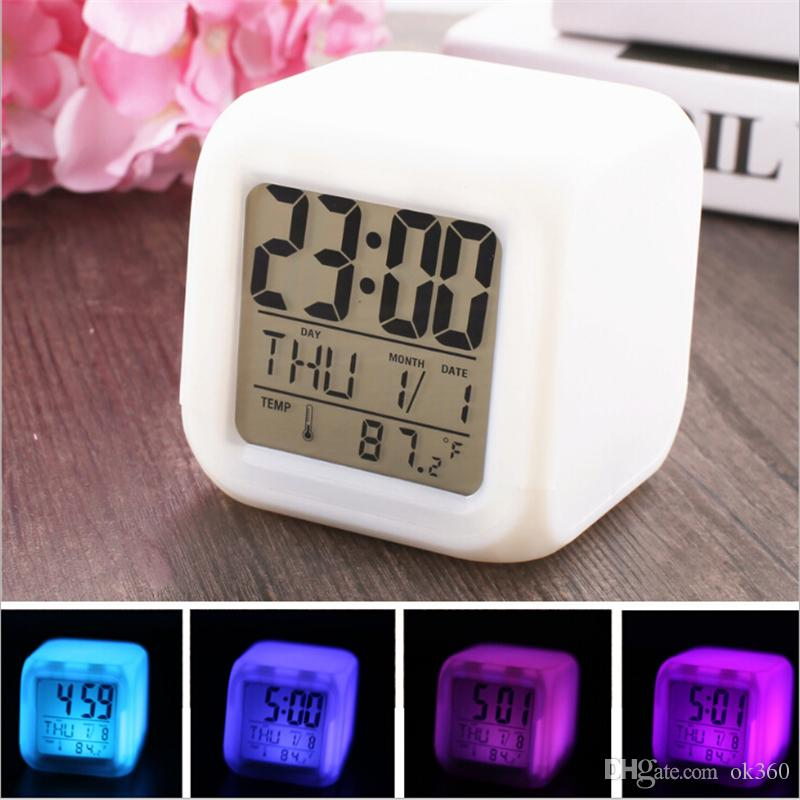 7 LED Colors Changing Digital Alarm Clock Desk Gadget Digital Alarm Thermometer Night Glowing Cube LCD Clock Desk Table light