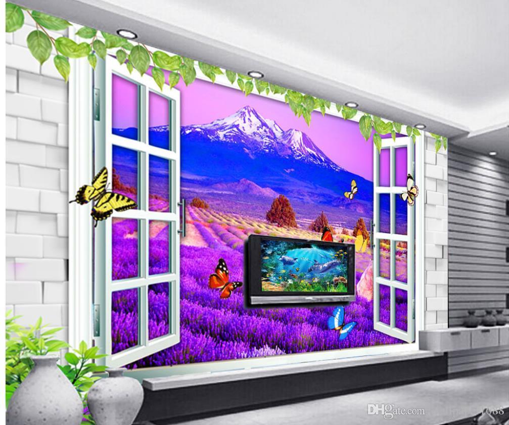 صور أي حجم بيع المصنع مباشرة لافندر 3D ستيريو نافذة التلفزيون جدار خلفية جدارية