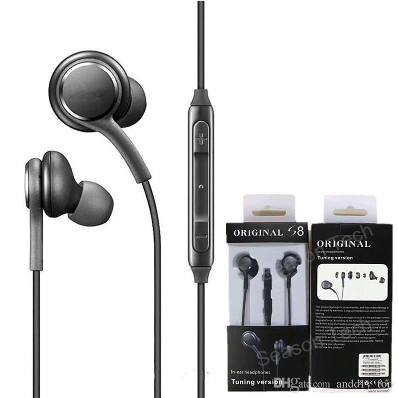 소매 패키지와 S6 플러스 S7 주 8 삼성 갤럭시 S8 이어폰 이어폰 유선 헤드셋 스테레오 사운드 이어폰 볼륨 제어를위한