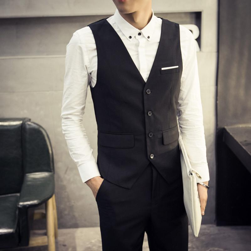 Yelek Erkekler Gerçek Chaleco Hombre 2017 Yeni Kore Slim erkek Takım Elbise Yelek Iş Rahat Takım Elbise İngiliz Moda Gelgit Ücretsiz Kargo