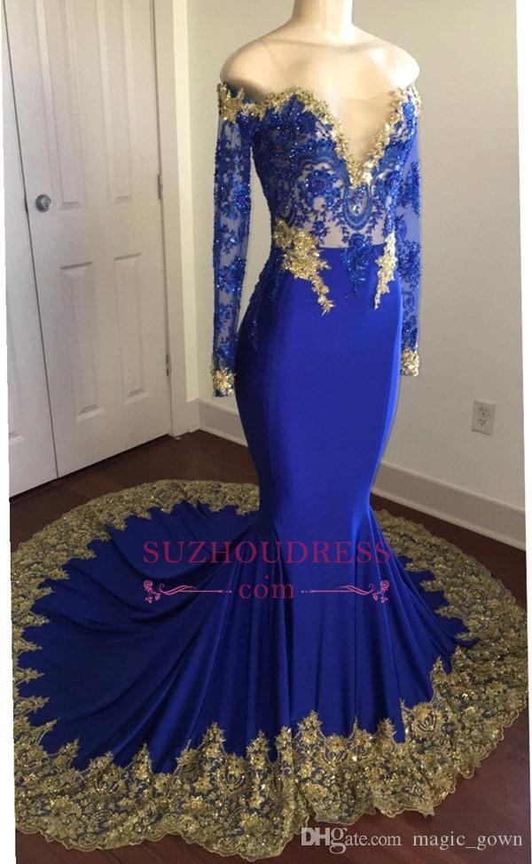 Azul Royal Sereia Vestidos de Baile 2018 Sheer Neck Ouro Applique Zipper Voltar Mangas Compridas Até O Chão Vestidos Formais Vestidos de Noite Personalizado