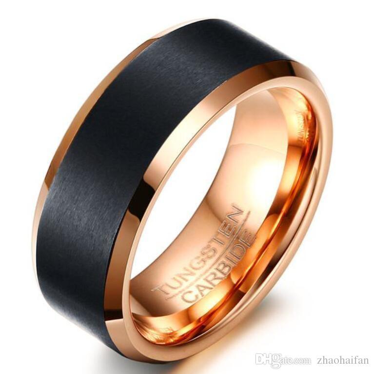 ZHF Takı erkekler 8mm Siyah Gül Altın Renk Tungsten Düğün Band Yüzükler Yıldönümü Yüzük Konfor Fit Ücretsiz Gravür