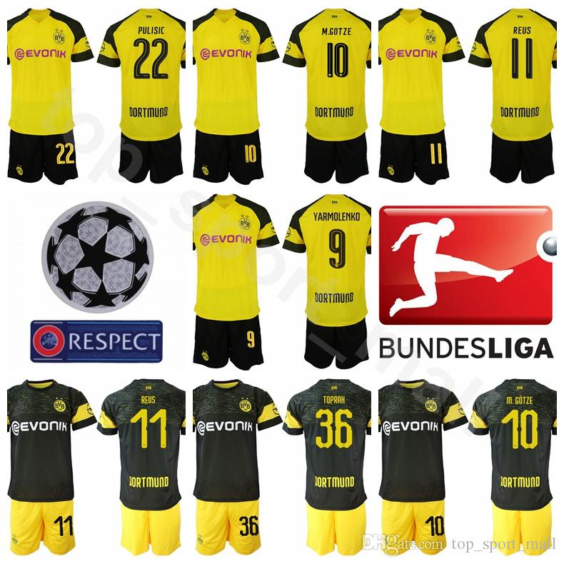 another chance e30cb e6f39 2019 2018 2019 Bundesliga Soccer BVB 10 Mario Gotze Jersey Sets Men FC  Borussia Dortmund 11 Marco Reus 22 Christian Pulisic Football Shirt Kits  From ...