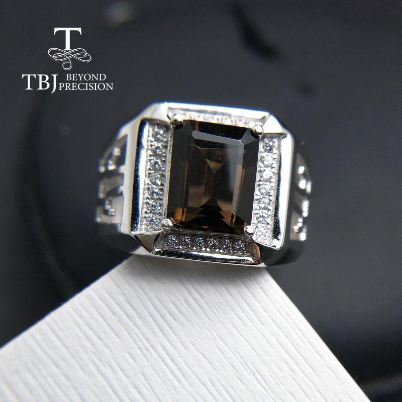 TBJ, 2017 novo anel dos homens com quartzo smoky natural em 925 jóias de pedras preciosas de prata esterlina, o melhor presente para o namorado dos homens estilo D1892601