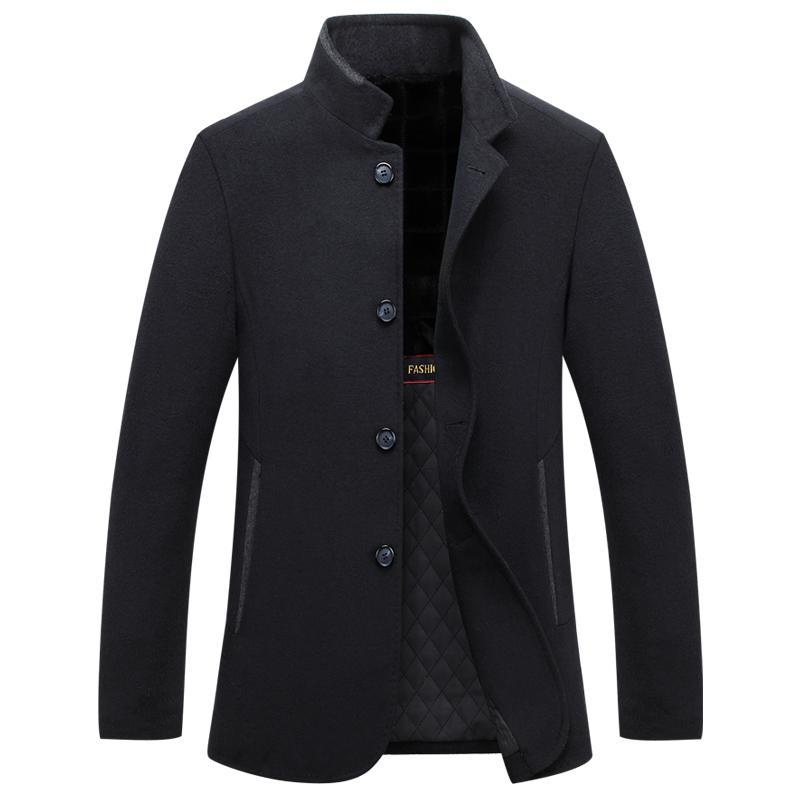 Mu Yuan Yang Autumn Wool Coats Business Casual Men' s Woolen Jackets 2017 Single Breasted Jacket Overcoat Big Size XXL XXXL