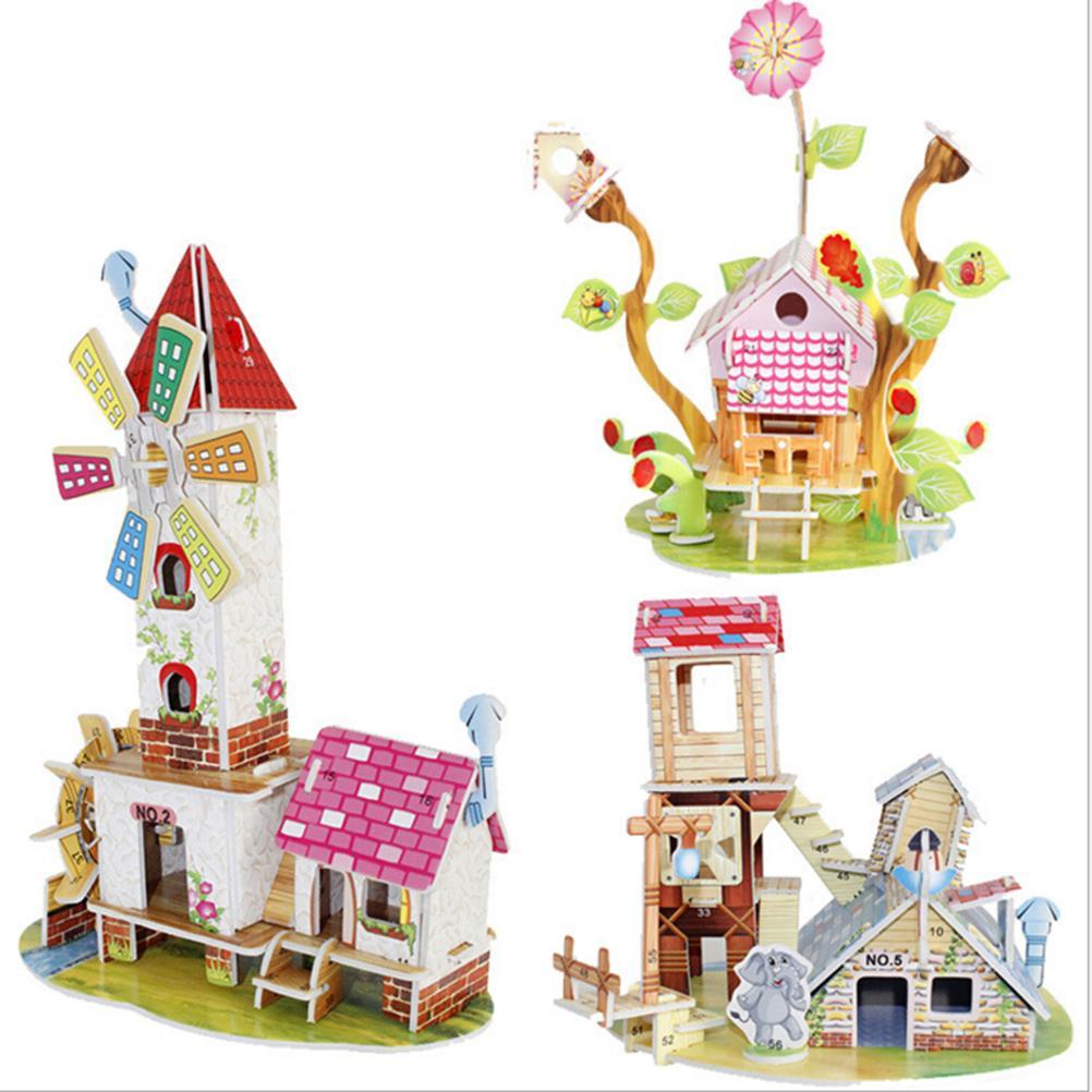 1 компл. Каваи 3D DIY головоломки дома головоломки головоломки детские игрушки малыш раннего обучения замок строительство шаблон подарок 21 * 14*1 см