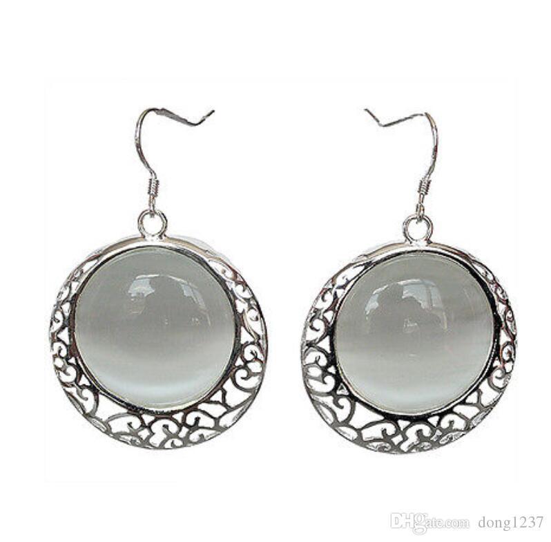 "Vintage Natural White Opal Cat Eye 925 Sterling Silver Earrings 11/5"""