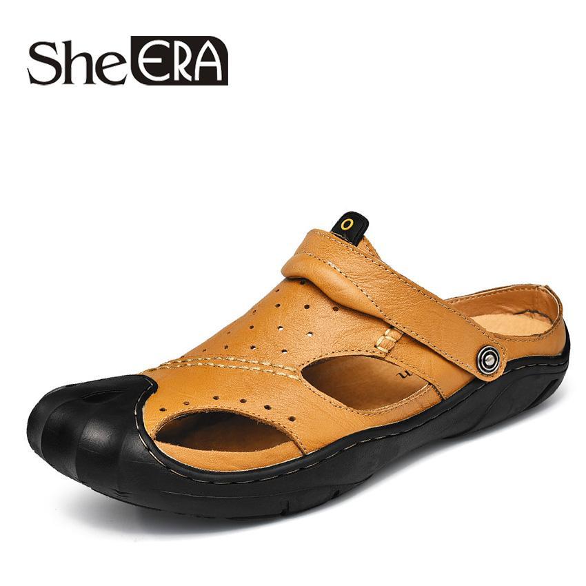 Ella ERA Hombres Sandalias de cuero genuino Hombres Zapatos casuales Nuevo 2018 Zapatos de verano Cool Beach Moda Cómodo Conducción plana