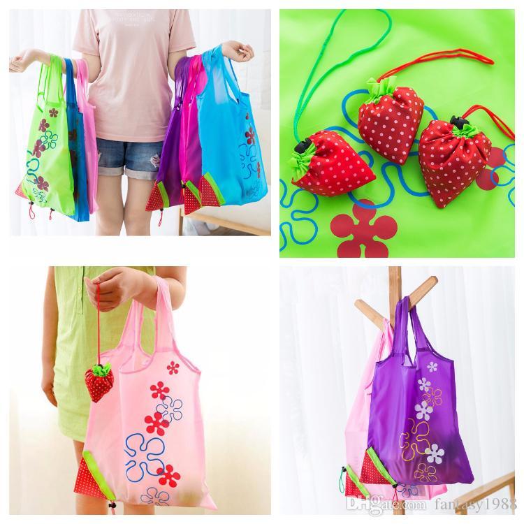 11 Farben Nylon Tragbare Kreative Erdbeere Faltbare Einkaufstaschen Wiederverwendbare Umweltschutz Beutel Umweltfreundliche Einkaufstaschen Tote