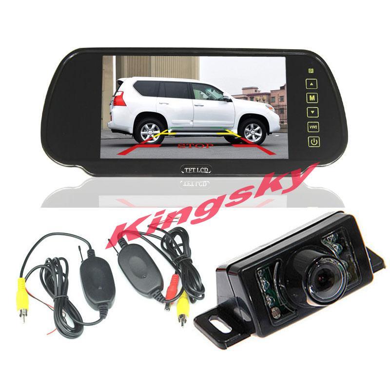 2.4 جيجا هرتز اللاسلكي سيارة عكس احتياطية وقوف السيارات كاميرا 7led استشعار للماء + 7 lcd مرآة الرؤية الخلفية للسيارات نظام الرؤية الخلفية