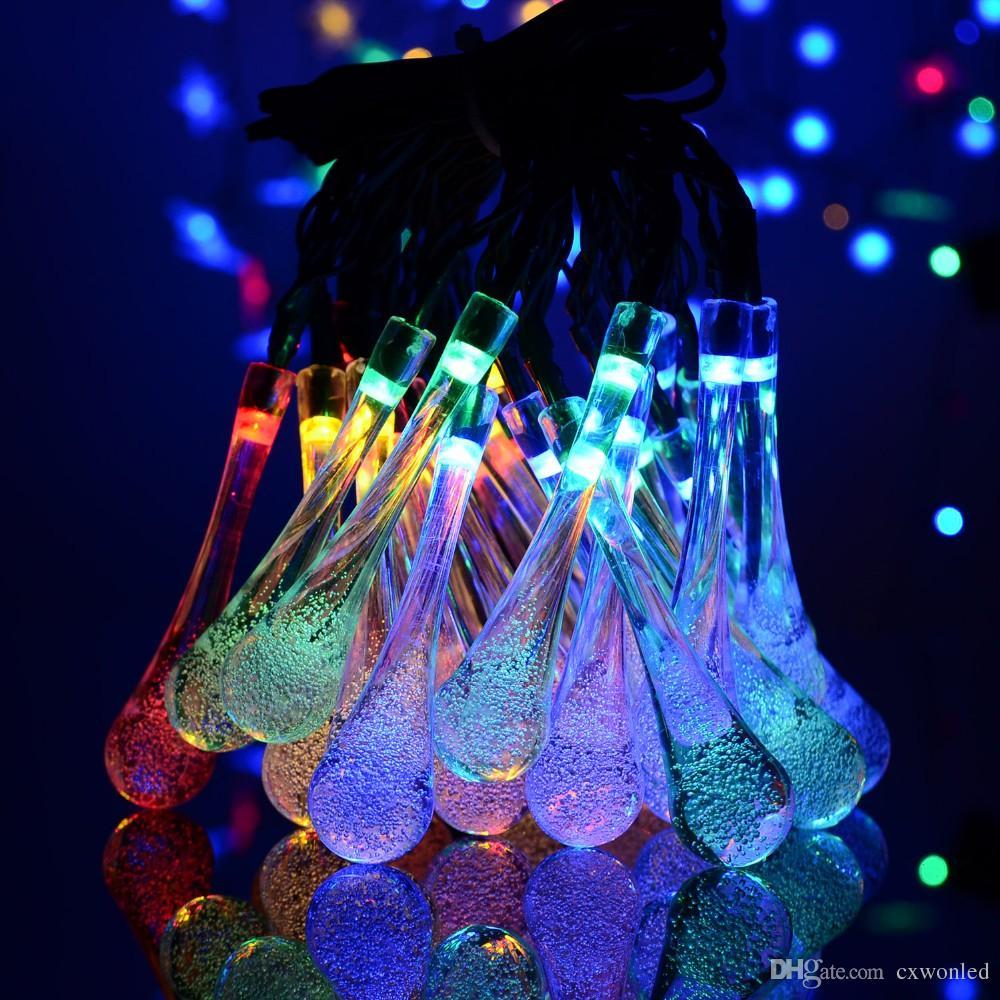 21FT 30 LED bola de cristal gota de água solar globo alimentado luzes de fadas 8 efeito de trabalho para jardim ao ar livre decoração de Natal luzes de férias