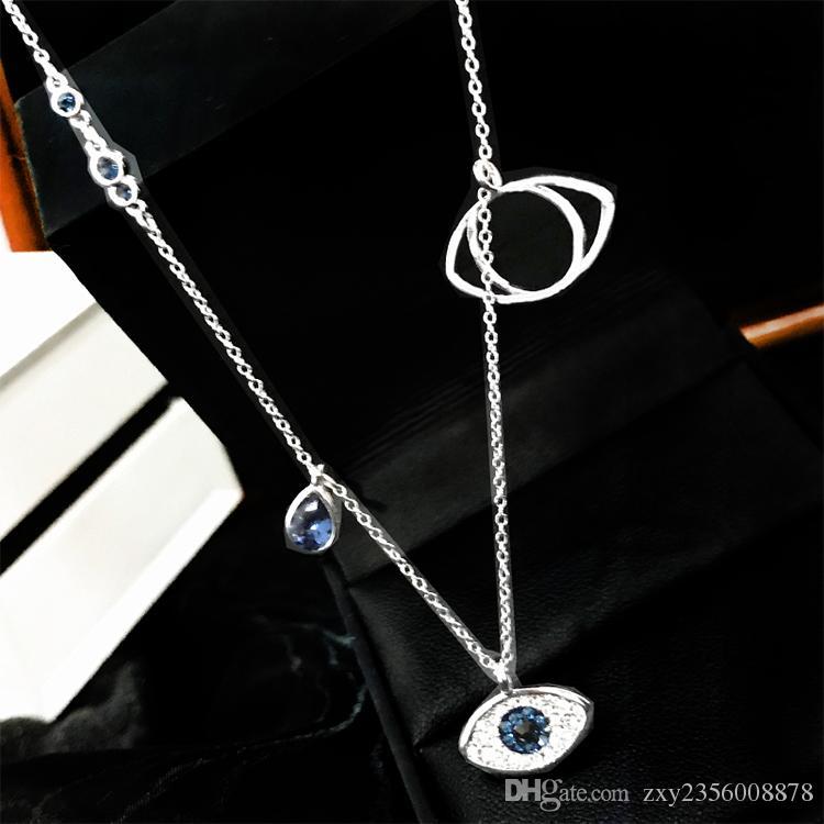 Acheter Mode La Pendentif Argent Chaîne Bijoux En De Oeil Collier Clavicule S925 Cadeau Femme Cristal Haute Qualité Démon y8vONmn0w