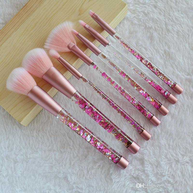 Brand New Pro Makeup Brushes 7pcs set liquid quicksand/ crystal diamond handle brush for eyeshadow foundation drop shipping makeup tools