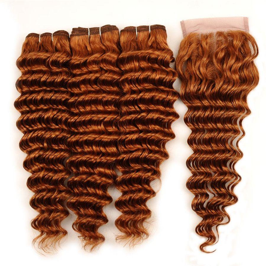 Capelli umani onda profonda tesse capelli vergini peruviani ramati 3 pacchi con 4x4 parte centrale chiusura in pizzo capelli ricci profondi ricci