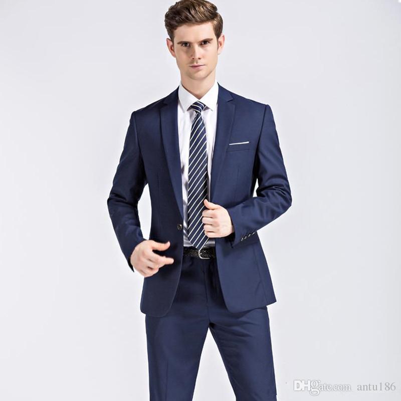 Erkek iş moda resmi elbise erkek moda zarif takım iki parça bir takım elbise (ceket + pantolon) düğün damat elbise destek özel