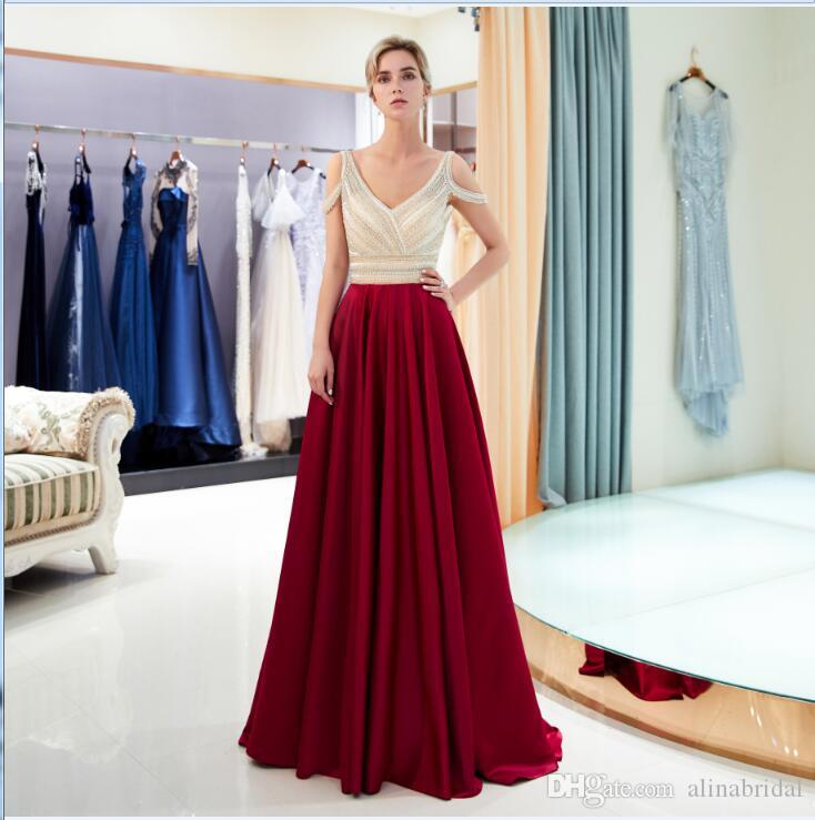 2018 New crystal V-neck Long Prom Party Dresses off shoulder Robe de soiree Tulle sleeveless Evening formal Gown elegant party gown 58706