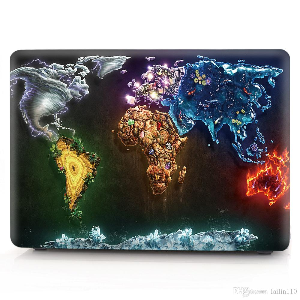 Map-6 Oil painting Case for Apple Macbook Air 11 13 Pro Retina 12 13 15 inch Touch Bar 13 15 Laptop Cover Shell