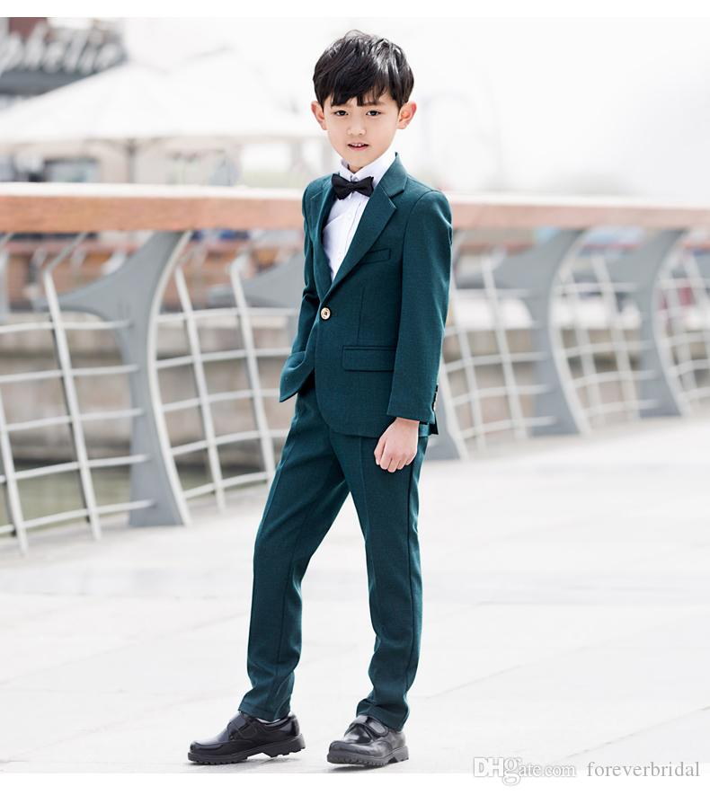 Beautiful Design Boys Dark Green Suit Four Or Five Pieces One Button Baby Boy Performance Show Suits Formal Party Kids Wear For Sale