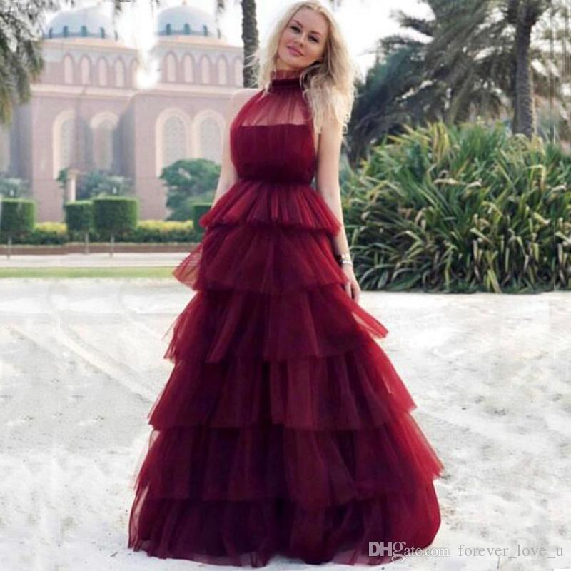 2019 Gorgeous Burgundy Prom Dresses Sheer Halter High Neck Sleeveless Tiered Skirt Floor Length Tulle Evening Party Gowns Custom Made