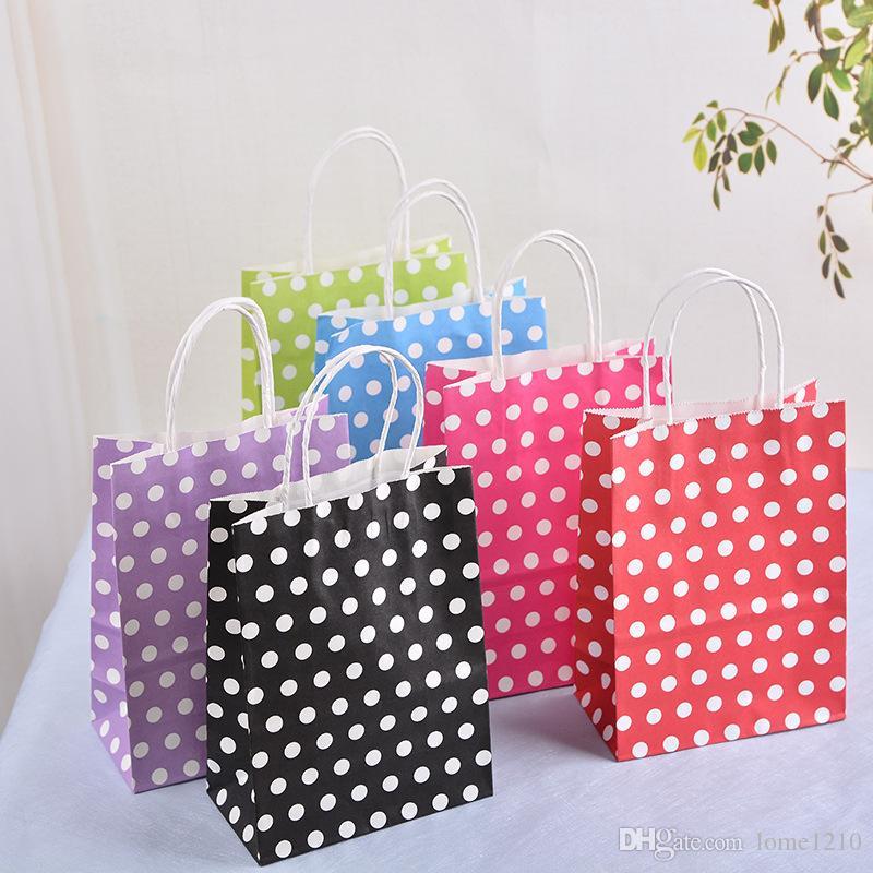 Kolları ile renkli Polka Dot kraft kağıt hediye çantası / Festivali hediye çantaları / DIY İşlevli alışveriş çantaları