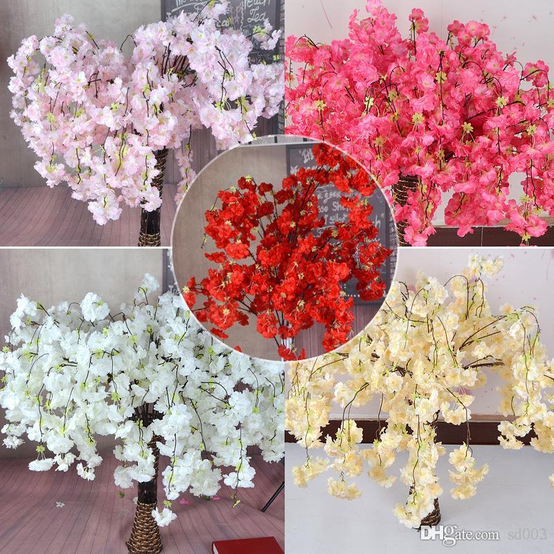 Simulation Sakura Sericite Cherry Blossoms Fleur artificielle Wed Décoration Emporium Décorer Home Furnis Accessoire Couleurs multiples 4 5TH dd