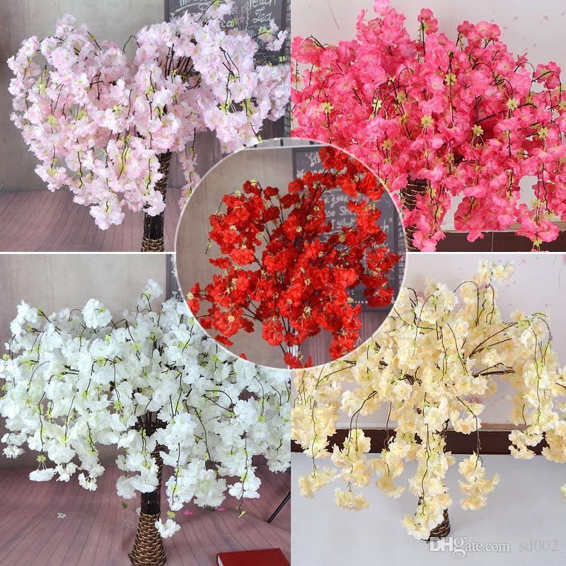 Simülasyon Sakura Sericite Kiraz Çiçekleri Yapay Çiçek Wed Dekorasyon Emporium Süslemeleri Ev Furnis Aksesuar Çoklu Renkler 4 5TH dd