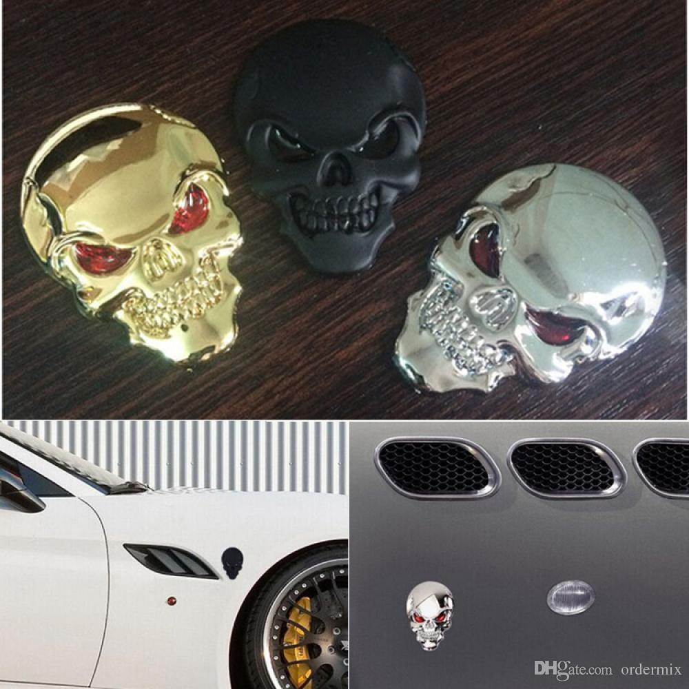 New 3D Car Motorcycle Metal Skull Bone Devil Emblem Badge Sticker Decal Silver