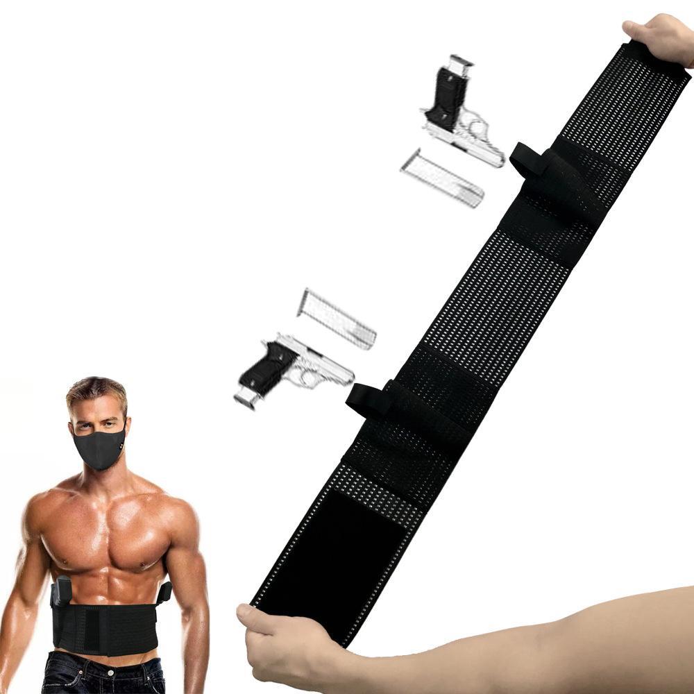 SINAIRSOFT Tactical Banda Barriga Escondida Holster Cinturão Segurança Stealth Ajustável Cinto de malha Respirável Elástico Na Cintura Com 2 Mag Bolsa