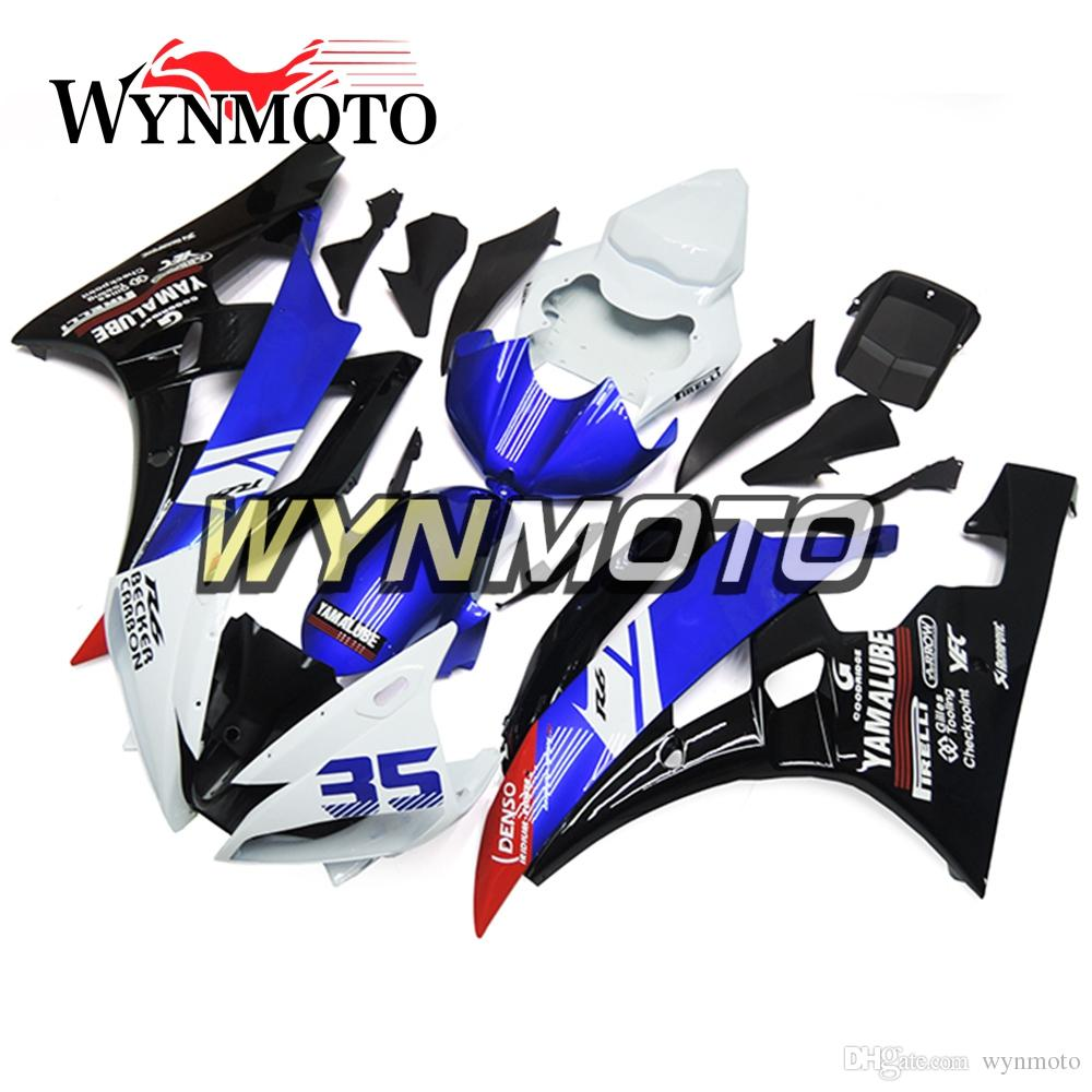 Carrocería completa de la motocicleta Carenado de plástico ABS para Yamaha YZF600 R6 YZF-600 2006 2007 Kits de carrocería de inyección azul Blanco negro Carenado